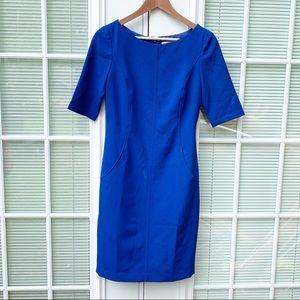 Eliza J Blue Boat Neck Sheath Dress Career